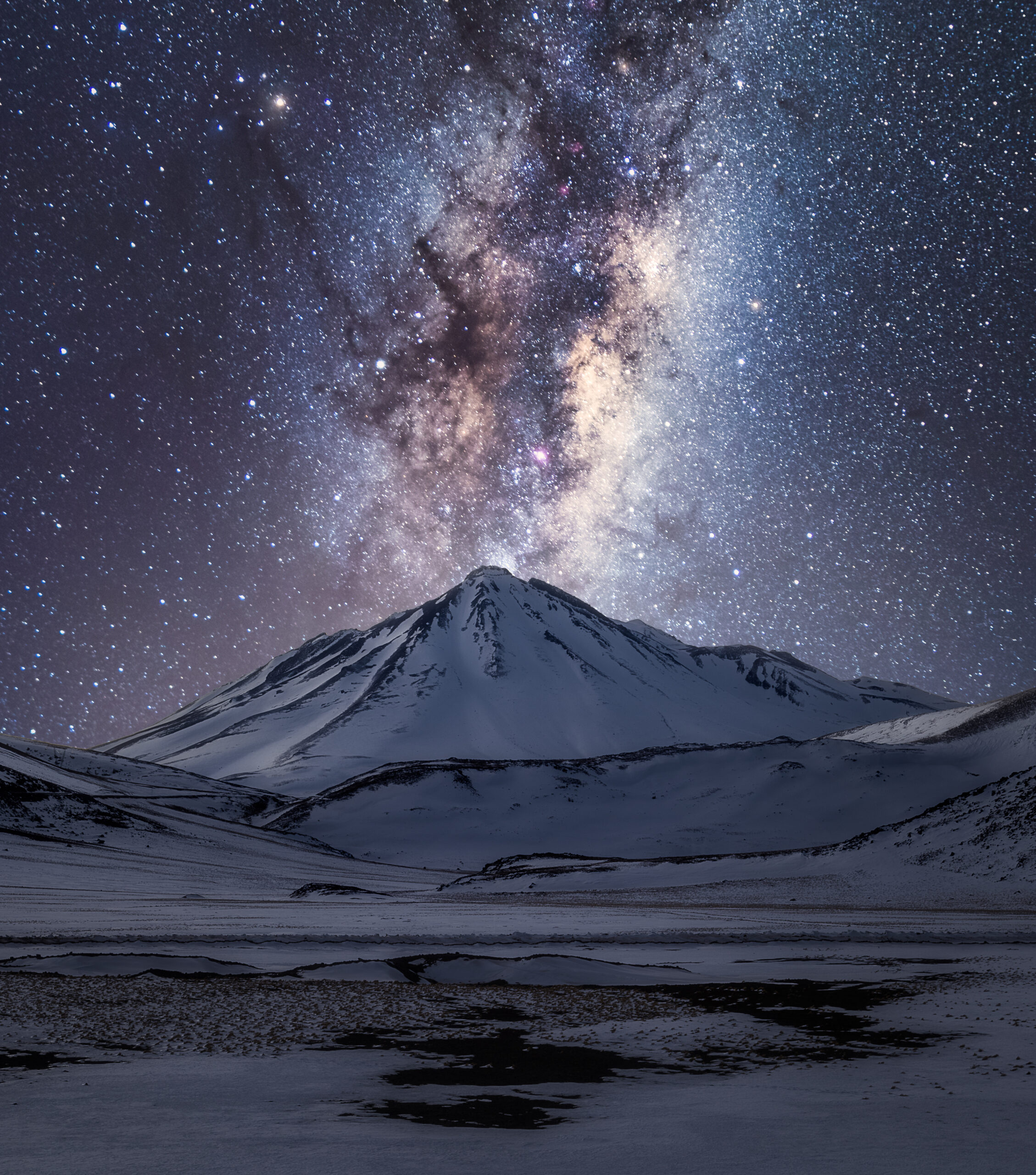 Stars strewn across a striking and dark landscape.